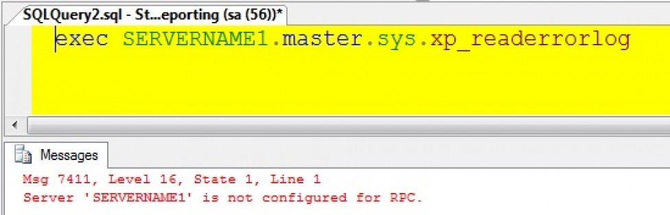 Server 'SERVERNAME1' is not configured for RPC for a Linked Server