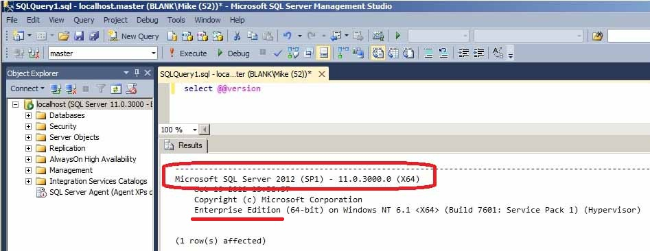 SQL Server 2012 SP1 – Enterprise Edition – 11.0.3000.0