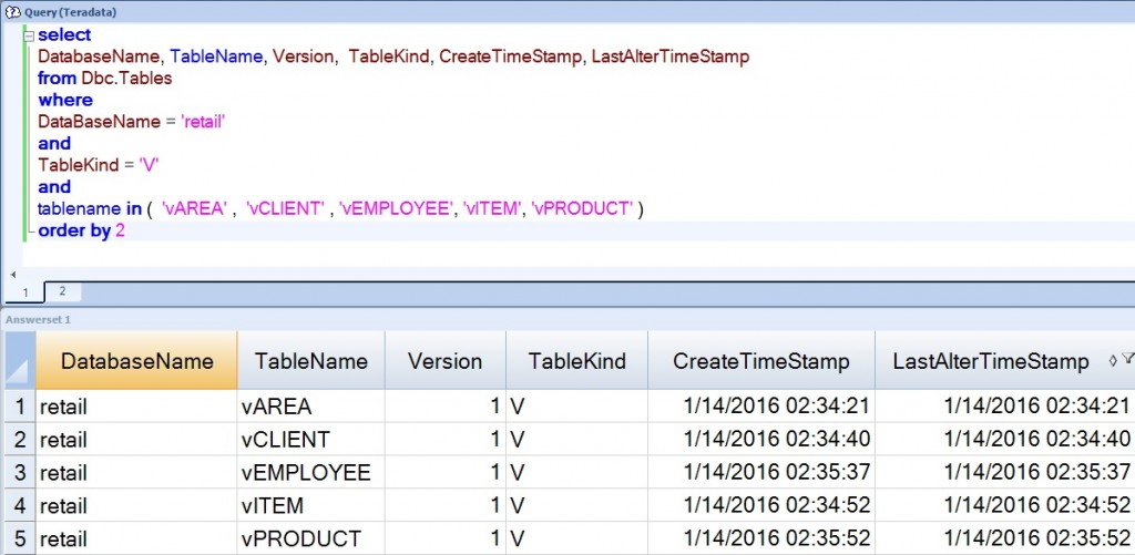 Teradata Check Query DDL