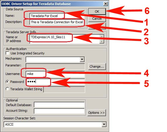 Driver Setup for Teradata Database Account