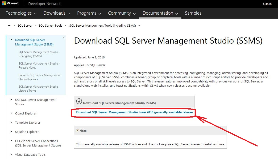 SSMS Download Page