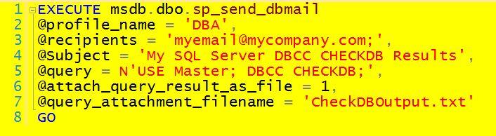 Emailed DBCC CHECKDB Output