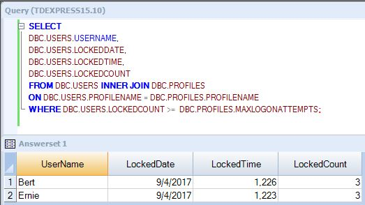 Teradata show locked accounts