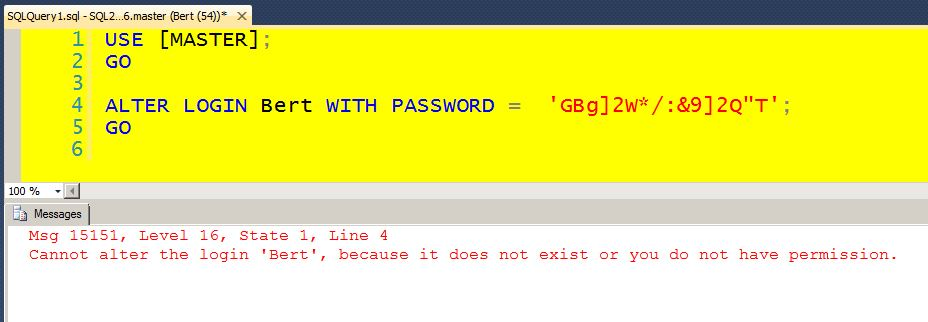 Alter Login With Passsword Fails