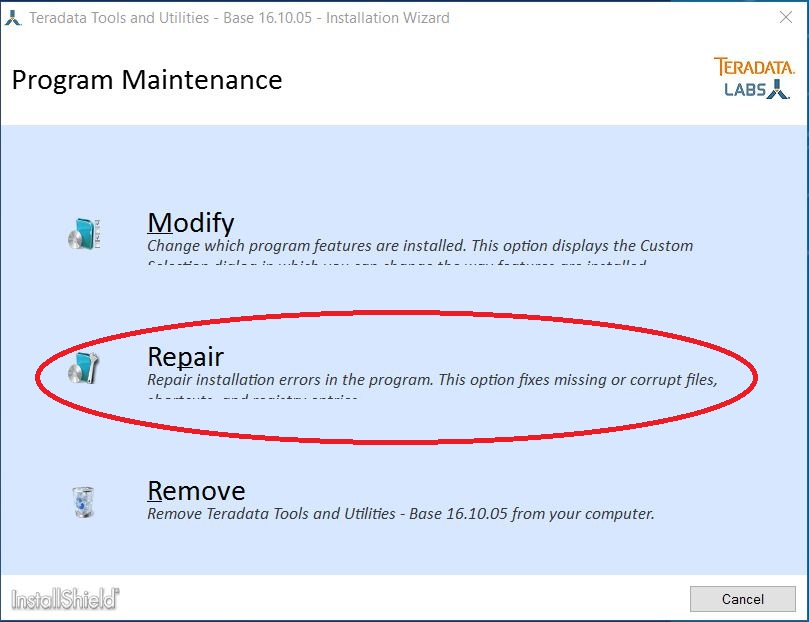 Repair Button - Program Maintenance screen