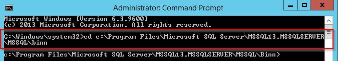 cd to the root directory of the SQL Server executable file