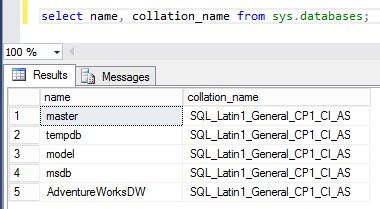 select name, collation_name from sys.databases;