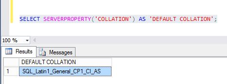 SELECT SERVERPROPERTY('COLLATION') AS 'DEFAULT COLLATION';
