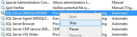 Stopping SQL Server Service