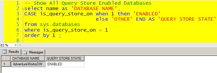 Show the Query Store State for All Databases