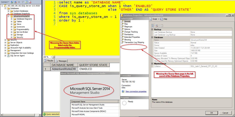 Query Store - SQL Server Management Studio 2014