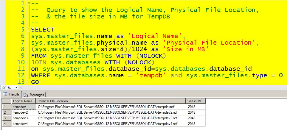 Query to show the Logical Name, Physical File Location, & the file size in MB for TempDB