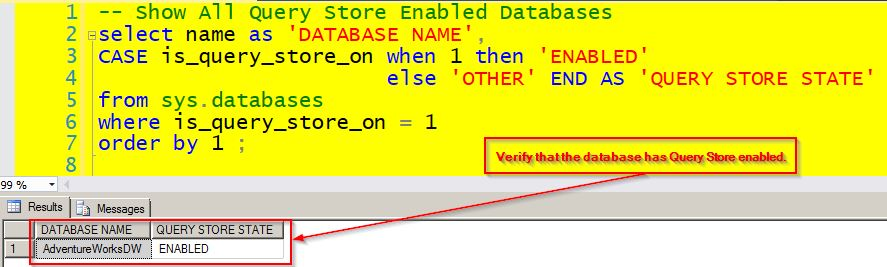 Verify the Query Store is Enabled