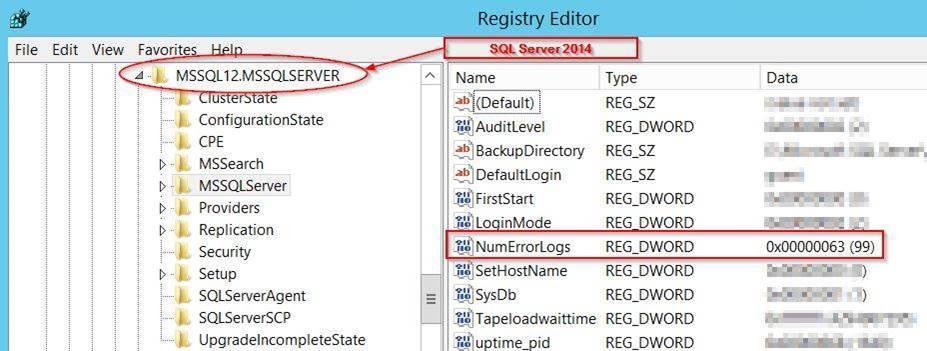 registry key NumErrorLogs