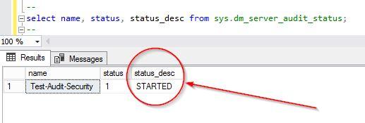 SQL Server Audit Status
