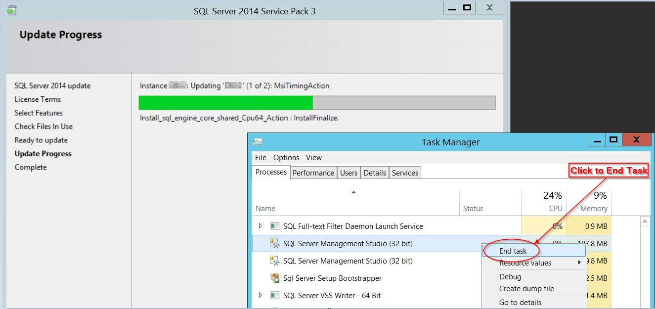 "In Task Manager right clicked on each session of SQL Server Management Studio and choose the ""End task"" option"