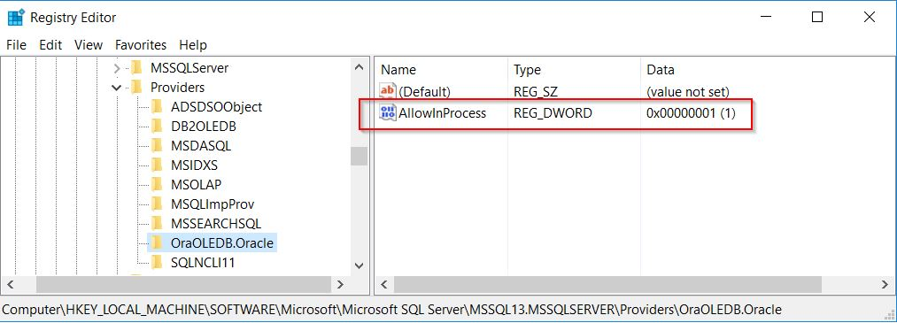 """AllowInProcess"" enabled as a DWORD Value in the registry."