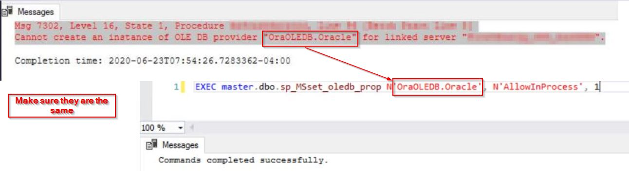OLE DB provider in the error message is the same in the SQL