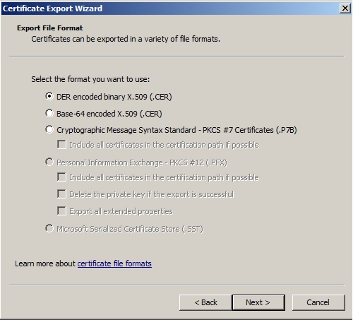 Moving a Certificate from Windows to the Java Cacerts File