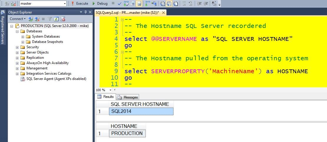 Script to change the SERVERNAME property in SQL Server