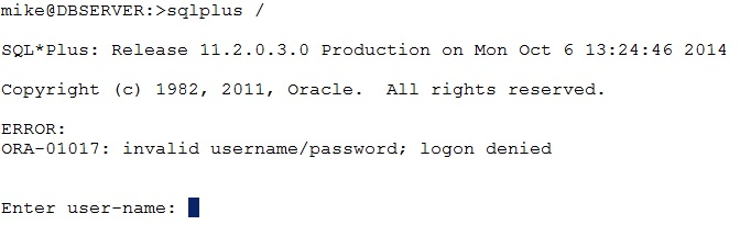 "SQLPLUS /"" – ORA-01017: invalid username/password"