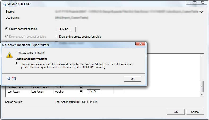 Error 0xc0204016: SSIS Pipeline … The length must be between