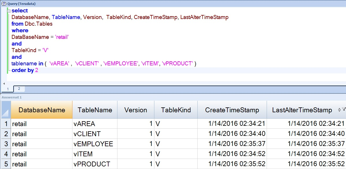 Query to Check the Last Time a Teradata View was Rebuilt or